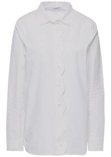 Ganni Woman Olayan Scalloped Cotton-poplin Shirt White
