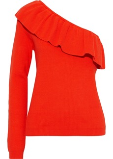 Ganni Woman One-shoulder Ruffled Ribbed Cotton-blend Top Tomato Red
