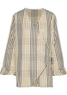 Ganni Woman Phillips Checked Cotton Wrap Top Sand