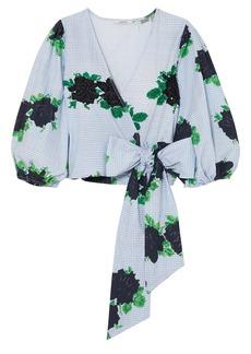 Ganni Woman Pine Embellished Printed Cotton-poplin Wrap Top Light Blue
