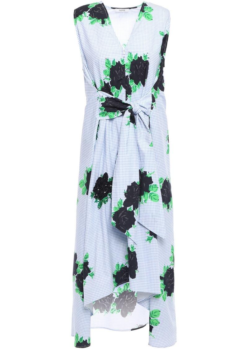 Ganni Woman Pine Tie-front Embellished Printed Cotton-poplin Dress Light Blue
