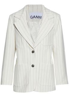 Ganni Woman Pinstriped Crepe Blazer Ivory