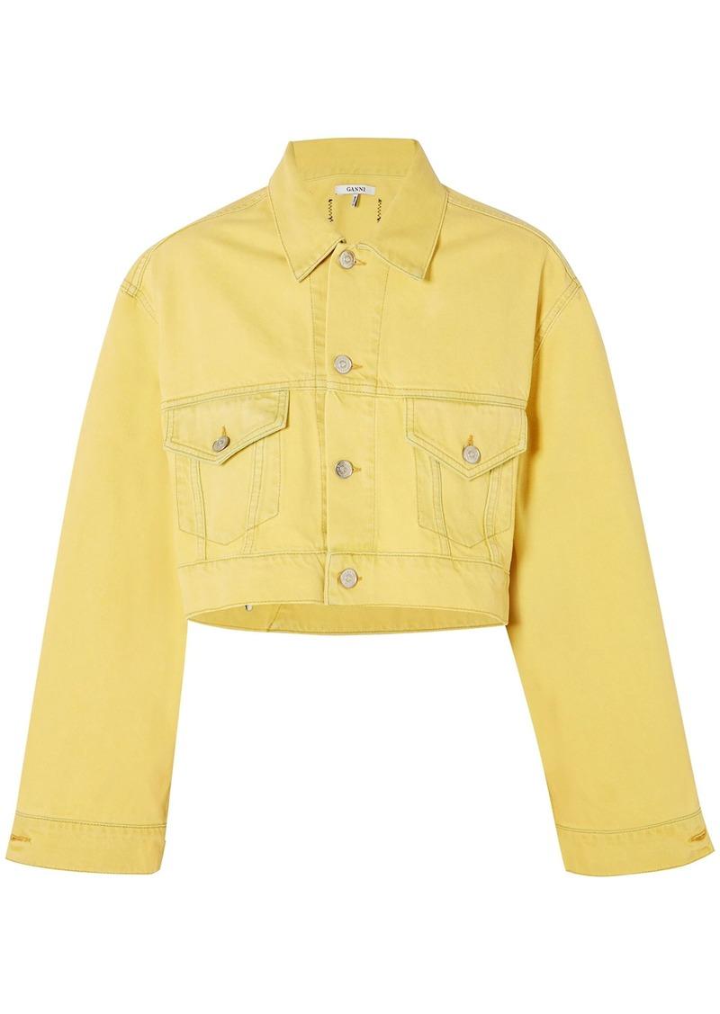 Ganni Woman Cropped Denim Jacket Yellow
