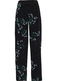 Ganni Woman Rometty Floral-print Georgette Straight-leg Pants Black