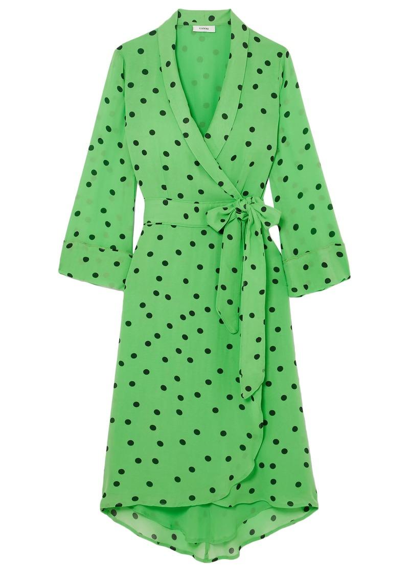 Ganni Woman Dainty Floral-print Georgette Wrap Dress Bright Green