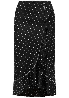 Ganni Woman Polka-dot Ruffled Silk-satin Midi Skirt Black