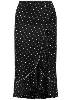 Ganni Woman Polka-dot Ruffled Silk-satin Midi Skirt Black