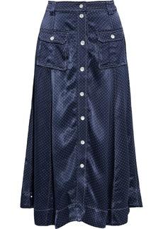 Ganni Woman Polka-dot Satin Midi Skirt Navy