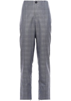 Ganni Woman Prince Of Wales Checked Silk And Wool-blend Straight-leg Pants Dark Gray