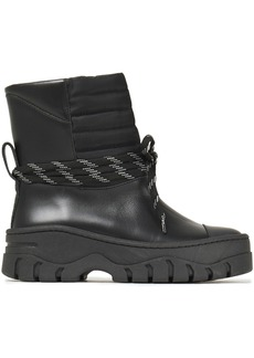 Ganni Woman Quilted Shell-paneled Leather Ankle Boots Black
