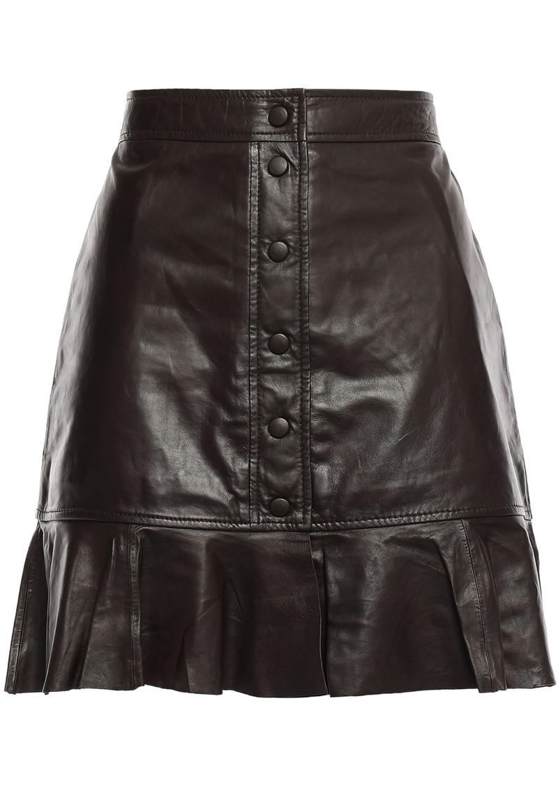 Ganni Woman Rhinehart Fluted Leather Mini Skirt Chocolate
