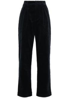 Ganni Woman Ridgewood Cotton-blend Corduroy Straight-leg Pants Midnight Blue