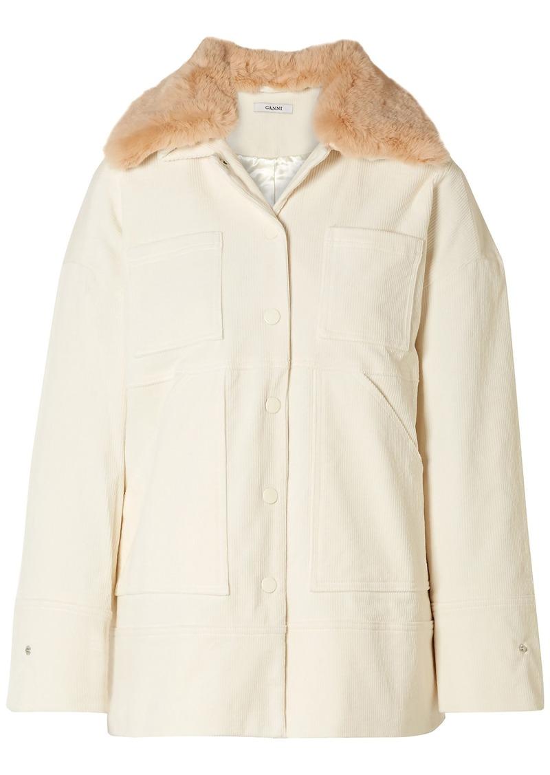Ganni Woman Ridgewood Faux Fur-trimmed Cotton-blend Corduroy Jacket Ecru