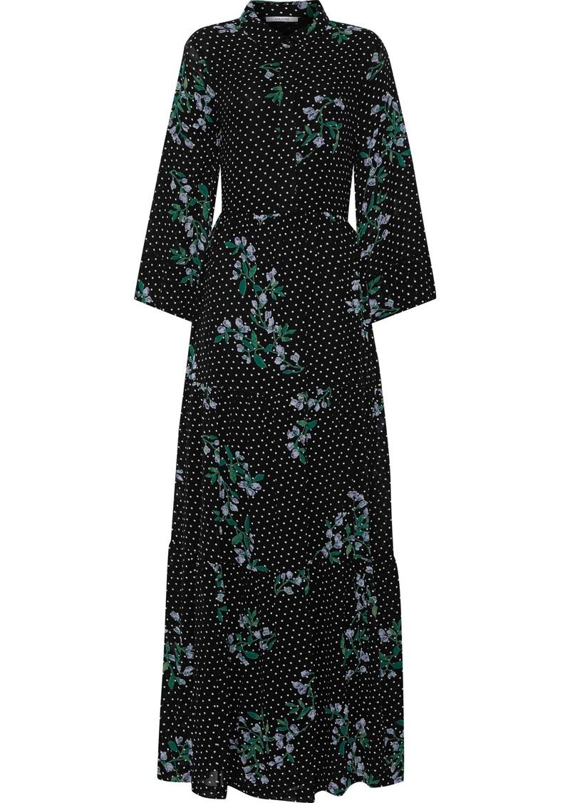Ganni Woman Rometty Gathered Floral-print Georgette Maxi Dress Black