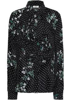 Ganni Woman Rometty Ruffled Floral-print Georgette Blouse Black