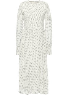 Ganni Woman Rometty Shirred Polka-dot Georgette Midi Dress Ivory