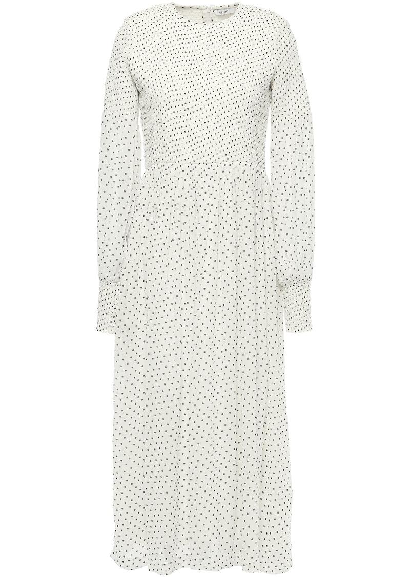 Ganni Woman Rometty Shirred Polka-dot Georgette Midi Dress Ivory