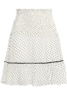 Ganni Woman Rometty Shirred Printed Georgette Mini Skirt Off-white