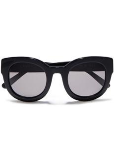 Ganni Woman Round-frame Acetate Sunglasses Black