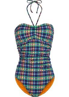 Ganni Woman Ruched Checked Stretch-seersucker Halterneck Swimsuit Multicolor