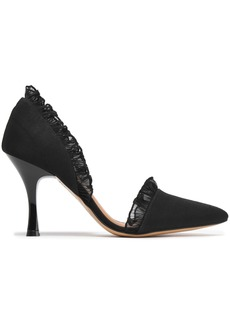 Ganni Woman Ruffle-trimmed Faille Pumps Black