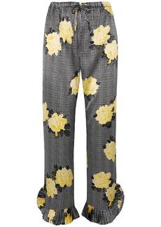 Ganni Woman Calla Leopard-print Silk-blend Satin Straight-leg Pants Black