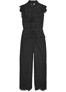 Ganni Woman Ruffled Corded Lace Jumpsuit Black