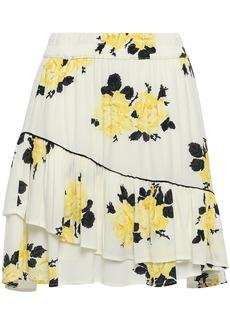 Ganni Woman Ruffled Floral-print Crepe Mini Skirt Ivory