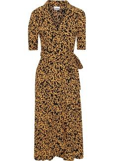 Ganni Woman Ruffled Floral-print Crepe Wrap Dress Black