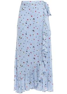 Ganni Woman Ruffled Polka-dot Georgette Midi Wrap Skirt Light Blue