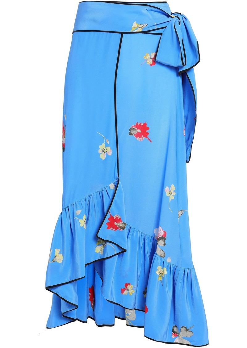 Ganni Woman Ruffled Floral-print Silk Crepe De Chine Midi Wrap Skirt Azure