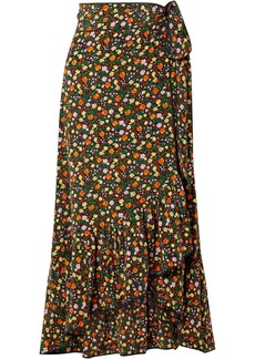 Ganni Woman Ruffled Floral-print Silk Crepe De Chine Midi Wrap Skirt Multicolor