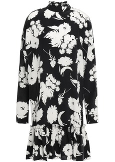 Ganni Woman Ruffled Floral-print Silk-crepe Dress Black