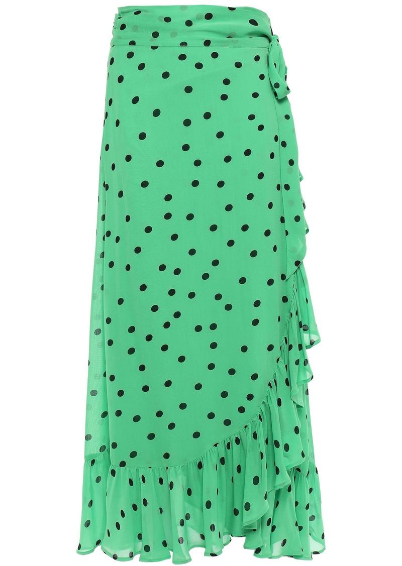 Ganni Woman Ruffled Polka-dot Georgette Midi Wrap Skirt Bright Green