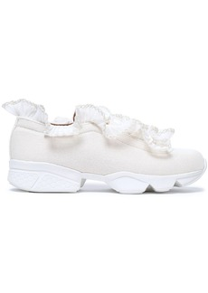 Ganni Woman Ruffled Tulle-trimmed Canvas Sneakers Ecru