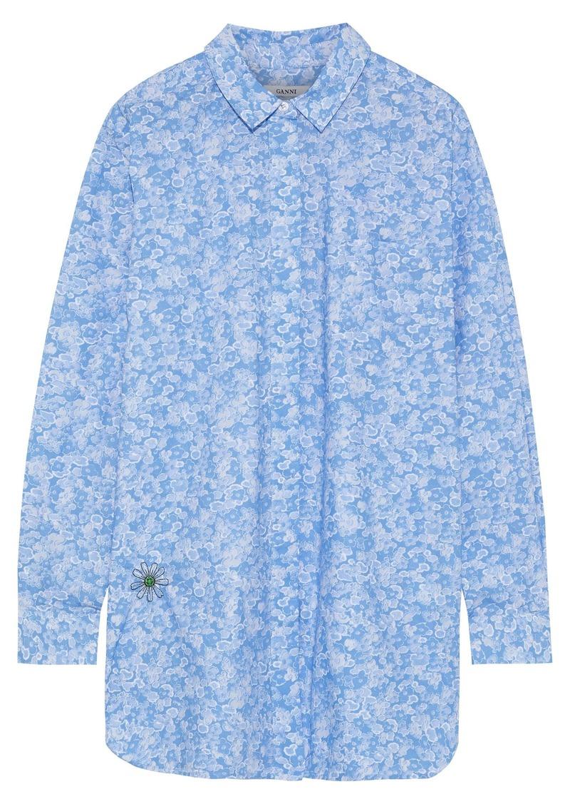 Ganni Woman Sage Embroidered Floral-print Cotton-poplin Shirt Light Blue