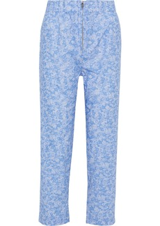 Ganni Woman Sage Floral-print Cotton-poplin Straight-leg Pants Light Blue