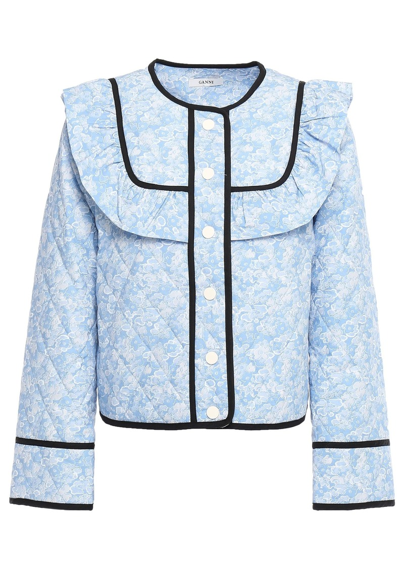 Ganni Woman Sage Ruffled Quilted Floral-print Cotton Jacket Light Blue