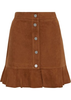 Ganni Woman Salvia Ruffle-trimmed Suede Mini Skirt Light Brown