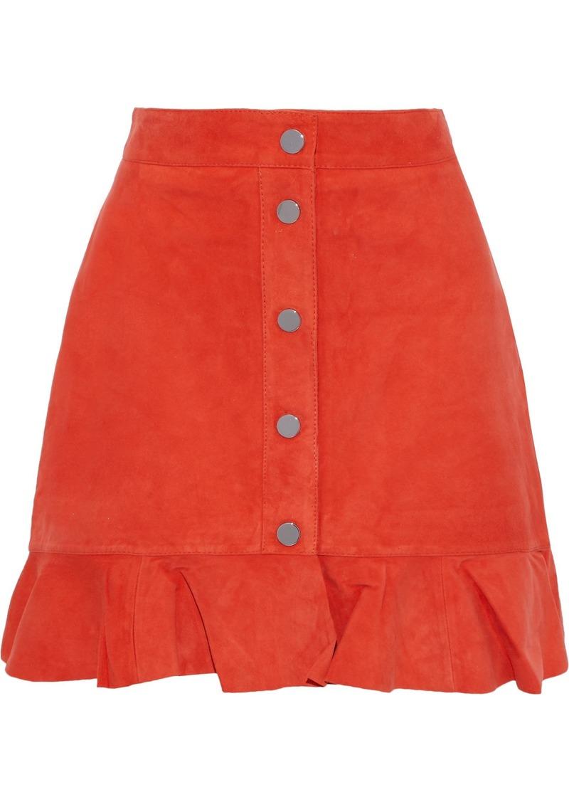 Ganni Woman Salvia Ruffle-trimmed Suede Mini Skirt Papaya