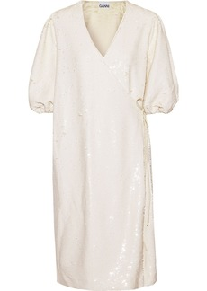 Ganni Woman Sequined Tulle Wrap Dress Ecru