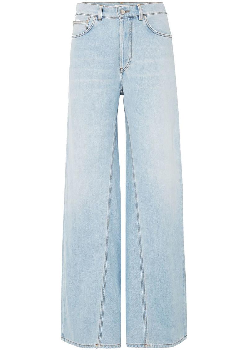 Ganni Woman Sheldon High-rise Wide-leg Jeans Light Denim