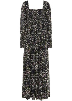 Ganni Woman Shirred Floral-print Georgette Maxi Dress Black