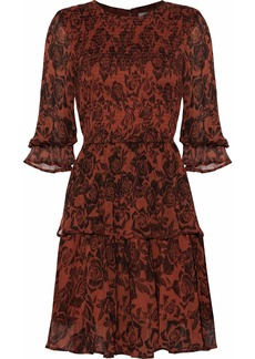 Ganni Woman Shirred Floral-print Georgette Mini Dress Claret