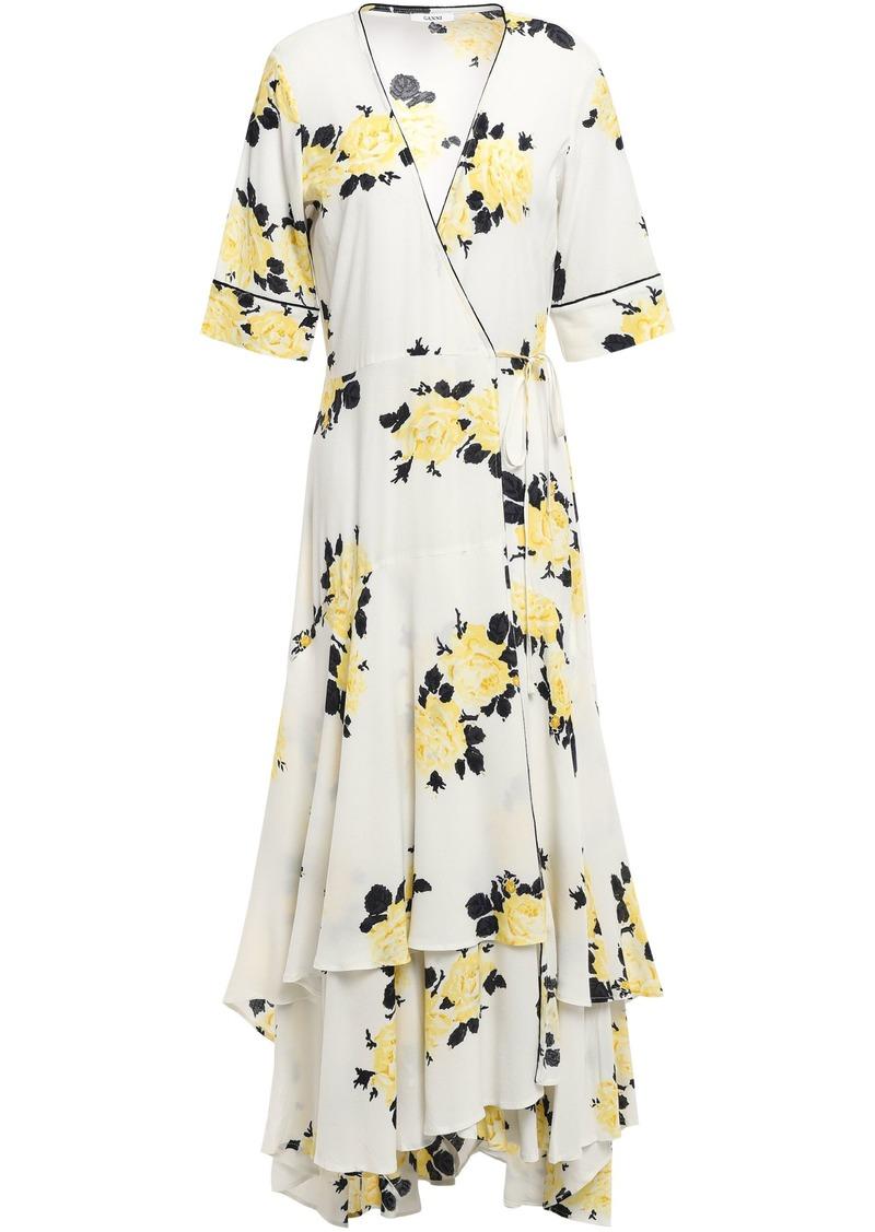 Ganni Woman Total Eclipse Floral-print Crepe De Chine Midi Wrap Dress Ivory