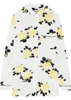 Ganni Woman Silvery Floral-print Crepe Shirt Ivory