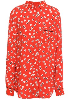 Ganni Woman Silvery Floral-print Crepe Shirt Red