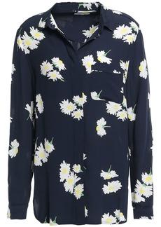 Ganni Woman Silvery Floral-print Crepe Shirt Navy