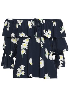 Ganni Woman Silvery Off-the-shoulder Ruffled Floral-print Crepe Top Midnight Blue