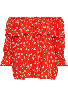 Ganni Woman Silvery Off-the-shoulder Ruffled Floral-print Crepe Top Red